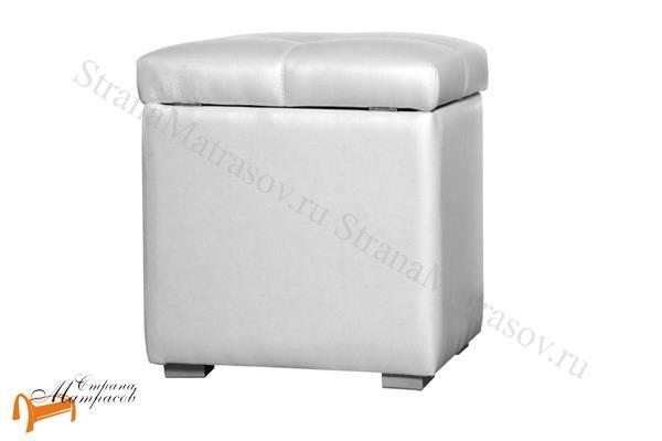 Аскона  Банкетка Квадро 1 с ящиком (пуф) , тумба, тумбочка, экокожа, черная, белая, кремовая