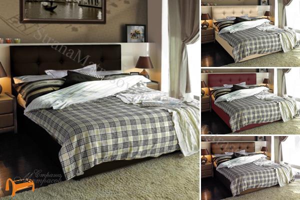 Аскона Кровать Sandra , экокожа, кровать Сандра, белая, черная, кремовая, коричневая, красная, серая, золотая