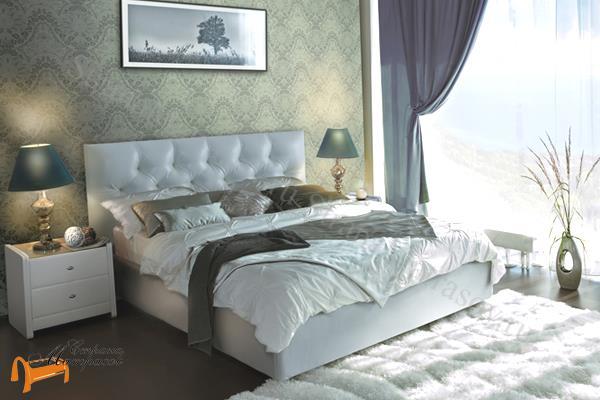 Аскона Кровать Marlena , экокожа белая, кровать фенди, кровать Fendi