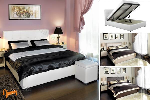 Аскона Кровать двуспальная Greta с подъемным механизмом , экокожа, кровать Марта, кровать Marta Аскона