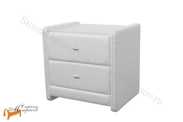 Аскона Тумба прикроватная Классик 2 , экокожа, с выдвижным ящиком, с двумя ящиками, белая тумбочка