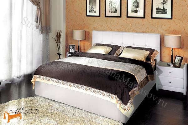Аскона Кровать Fabiano с подъемным механизмом, Hilding Anders , экокожа белая, кровать Марта, кровать Marta
