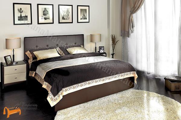 Аскона Кровать двуспальная Greta с подъемным механизмом , экокожа коричневая, кровать Марта, кровать Marta