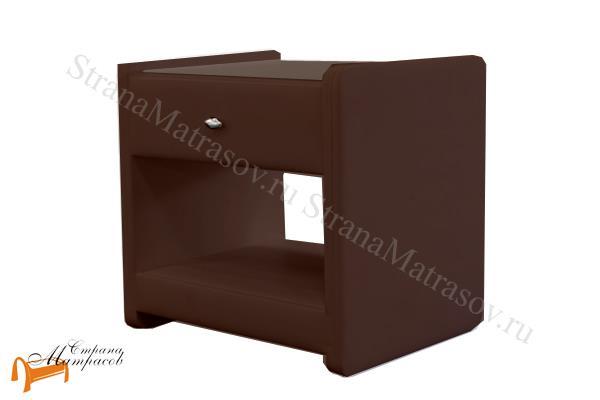 Аскона Тумба прикроватная Классик 1 , экокожа, с выдвижным ящиком, венги тумба