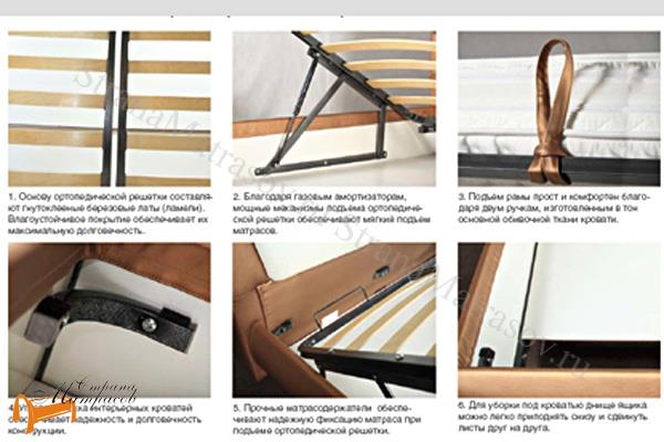 Аскона Кровать двуспальная Fendi с подъемным механизмом, Hilding Anders , крепления, кровать фенди, кровать Fendi, марлена, моника, monica