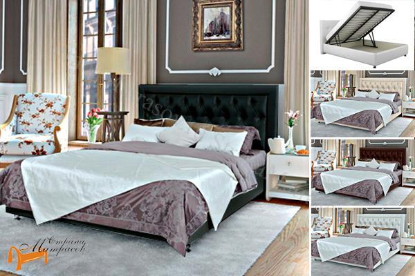 Аскона Кровать Simona с подъемным механизмом , экокожа, кровать Симона, белая, черная, кремовая, коричневая, красная, серая, золотая, ящик