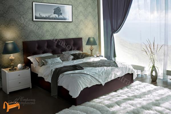 Аскона  двуспальная Marlena с подъемным механизмом , экокожа коричневая, кровать фенди, кровать Fendi