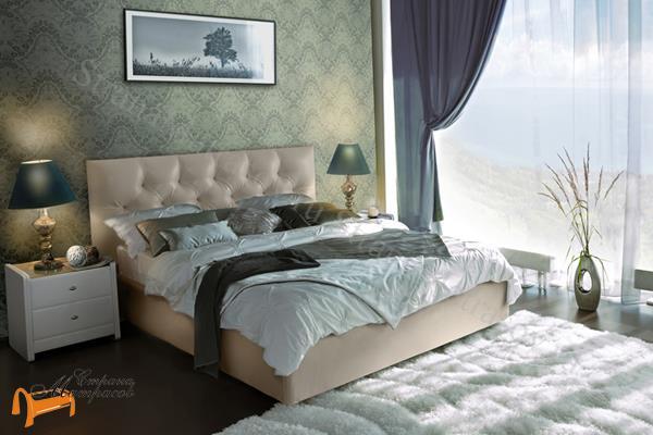 Аскона Кровать двуспальная Monica , экокожа бежевая, кровать фенди, кровать Fendi, моника, monica