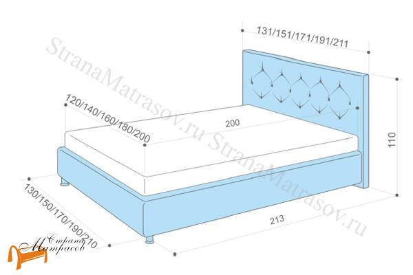 Аскона  двуспальная Marlena с подъемным механизмом , схема, кровать фенди, кровать Fendi