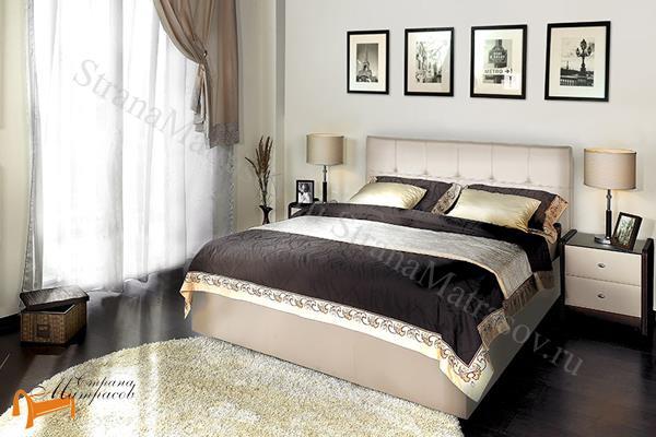 Аскона Кровать двуспальная Fabiano, Hilding Anders , бежевая экокожа