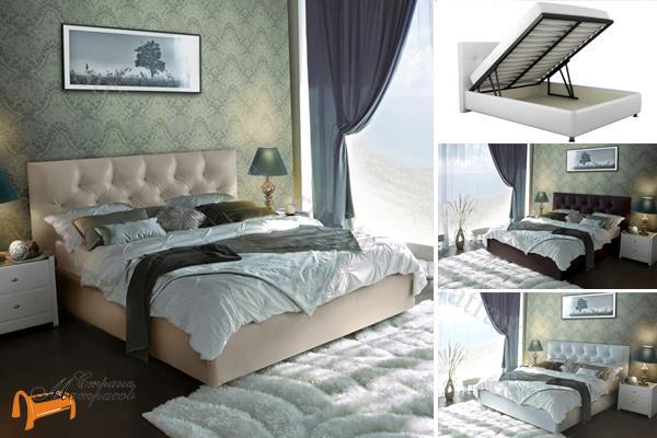 Аскона  двуспальная Monica с подъемным механизмом , экокожа, кровать фенди, кровать Fendi, моника, monika