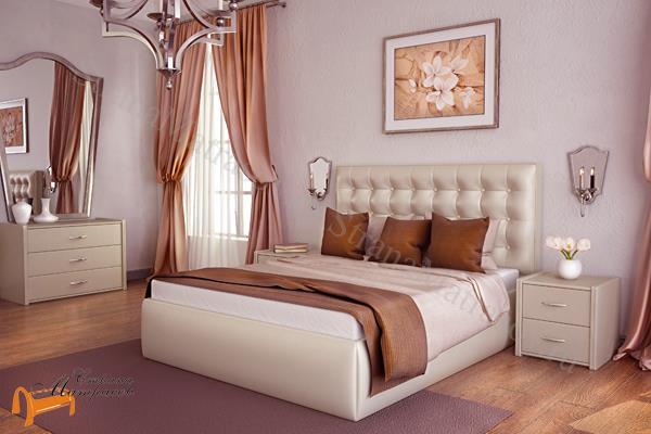 Lonax Кровать Аврора с подъемным механизмом , березовые ламели, экокожа, коричневый, белый, перламутровый, пуговки, ящик