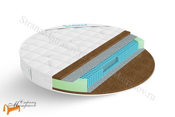 Lonax Матрас Круглый Round Cocos S1000 , кокосовая койра, усиление по периметру, блоки независимых пружин, войлок