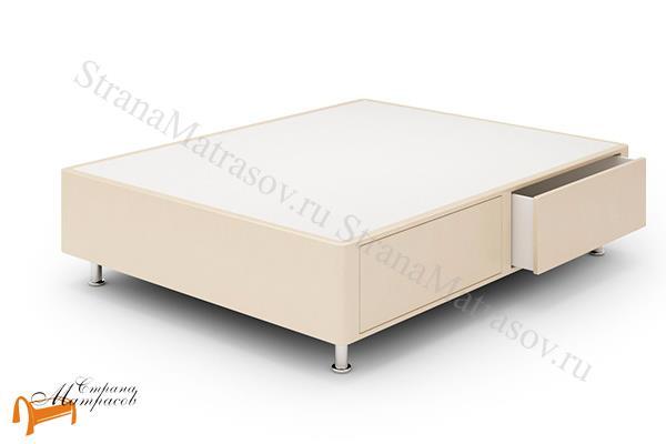 Lonax Кровать Box Maxi Drawer с основанием (2 ящика)  , березовая фанера, экокожа, коричневый, белый, черный, бежевый, ящик