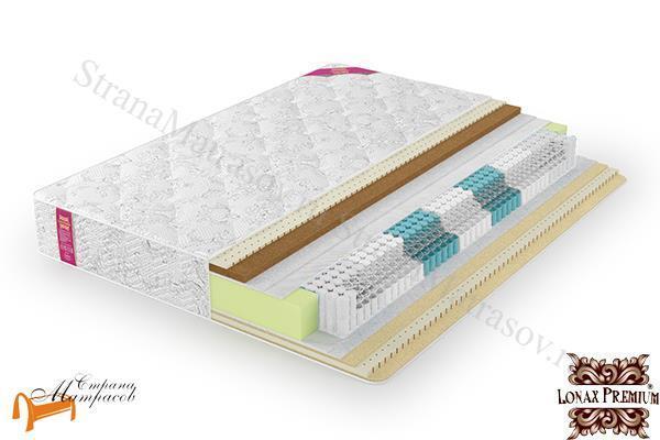 Lonax Матрас Lorentto Lux S1000 (5 зон) , независимые пружины, кокос, латекс, белый войлок