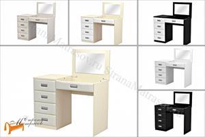 Орматек -  Туалетный стол Como / Veda левый с зеркалом (4 ящика, экокожа и ЛДСП)