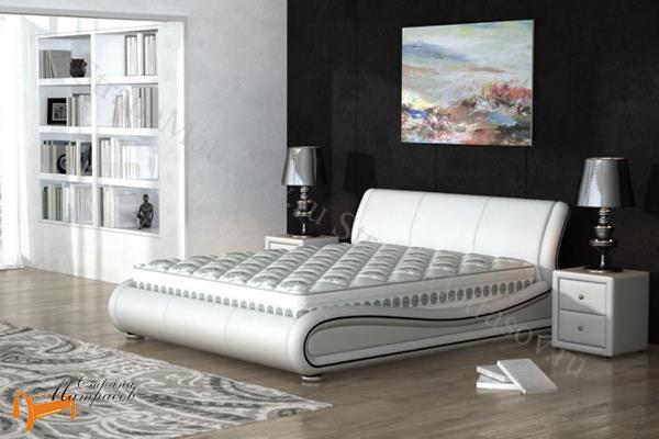 орматек кровать двуспальная Clip из натуральной кожи купить в