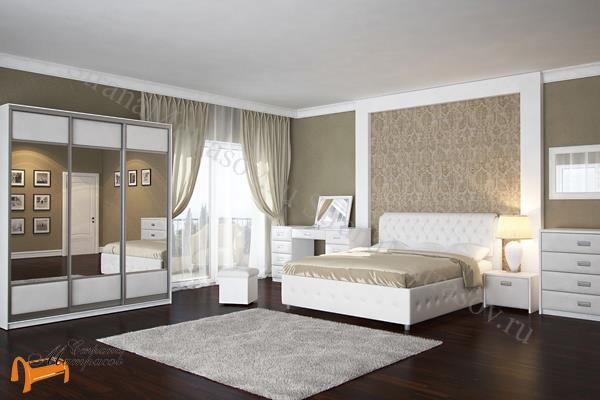 Орматек Кровать Veda 4 с основанием , Комо, Веда, экокожа, ткань, рогожка, велюр, белый, черный, кремовый, бежевый, коричневый, золото, крокодил, жемчуг, стразы