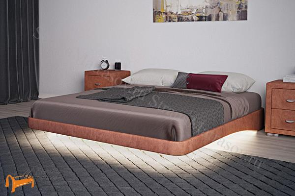 Орматек Основание для кровати парящее с ламелями + подсветка + ножки , экокожа, ткань, велюр, рогожка, белая, черная, коричневая, бежевая, кремовая, золотая, жемчуг,