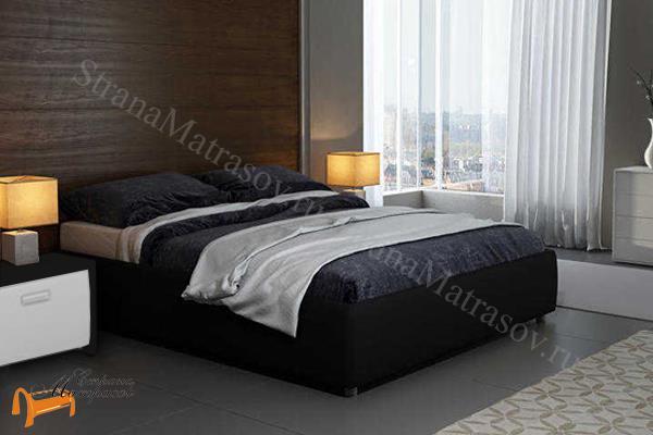 Орматек Кровать Veda 1 Base с основанием , экокожа, без изголовья, цвет белый, цвет кремовый, цвет черный