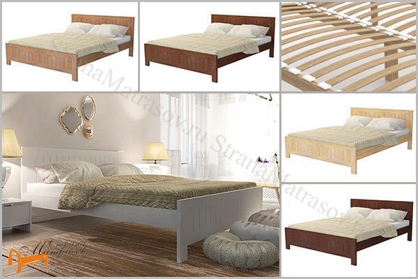 Орматек Кровать Vesna Line 3 с основанием , массив сосны, массив берёзы, белый, коричневый, жёлтый
