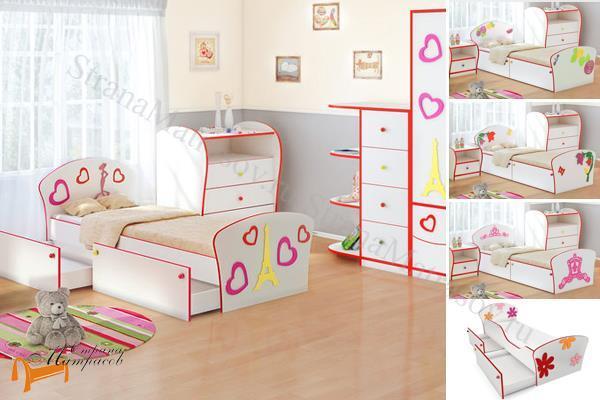 Орматек Кровать Соната Kids Плюс (для девочек) с ящиками и с основанием , лдсп, мдф, подростковая, детская, для ребенка, ящик, бортик