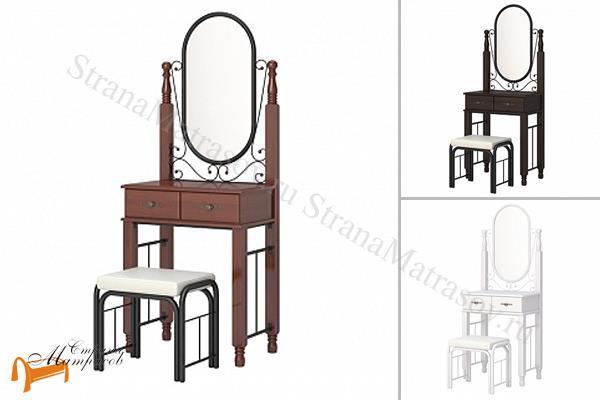 Орматек  Туалетный столик с банкеткой Garda 2R , зеркало, дерево гевеи, стул, белый, орех, венги