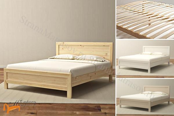 Орматек Кровать Торонто с основанием , натуральное дерево, классика, сосна, слоновая кость, белая эмаль, матовый лак