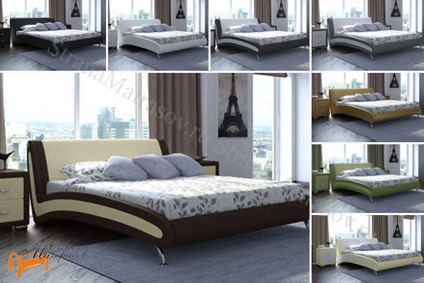 Орматек  двуспальная Corso 2 , экокожа, кровать Корсо, разные цвета, бежевый, золото, черный, белый, кремовый, красный, бордо