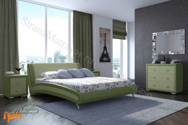 Орматек  двуспальная Corso 2 , экокожа, зелевый, олива, кровать Корсо