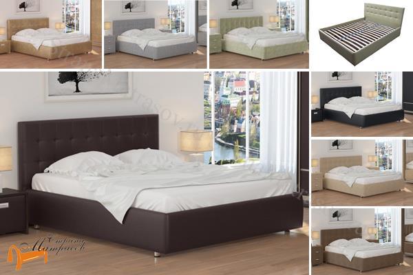 Орматек Кровать Veda 1 с основанием , экокожа, ткань, рогожка, велюр, золото, олива, белый, чёрный, кремовый, бежевый, коричневый, зеленый, красный, встроенный ящик