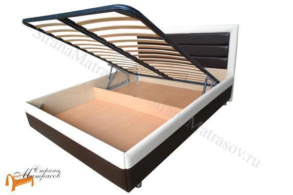Райтон Кровать Life Box 2 с подъемным механизмом , экокожа люкс, бежево-коричневый, черно - белая