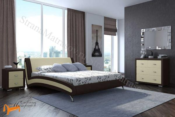 Орматек  двуспальная Corso 2 , экокожа, коричневый, кремовый