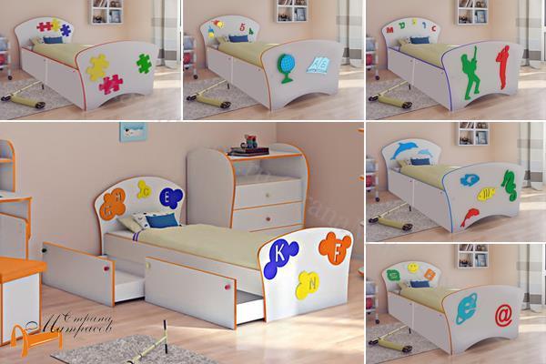 Орматек Кровать Соната Kids Плюс (для мальчиков и девочек) c ящиками и с основанием , лдсп, мдф, подростковая, детская, для ребенка, ящик, бортик