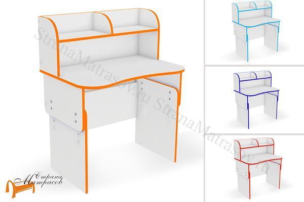 Орматек  Компьютерный стол Соната Kids , лдсп, белая, столик, голубой, синий, красный, оранжевый
