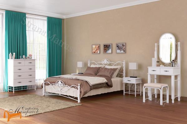Райтон Кровать Garda 3 с основанием , металл, гарда, дерево гевеи, белая, венги, коричневая, орех
