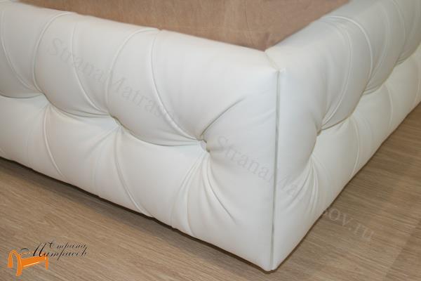 Орматек Кровать двуспальная Veda 6 с основанием , экокожа, цвет белый
