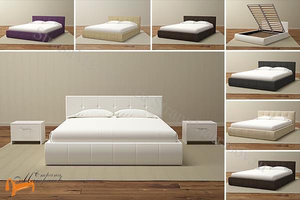 Орматек Кровать Varna с подъемным механизмом , кровать из экокожи, с подъемным  основанием, белый, бежевый, коричневый, черный