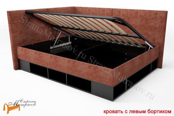Орматек Кровать Lancaster 1 - тахта с подъемным механизмом , угловая кровать, бортик, экокожа, лдсп, ткань, ящик