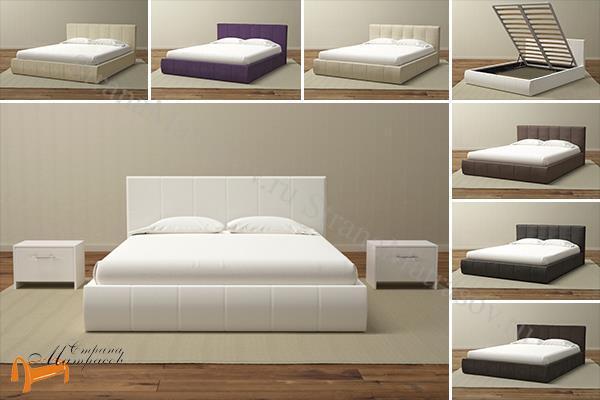 Орматек Кровать Varna Grand с подъемным механизмом , кровать из экокожи, с подъемным  основанием, белый, бежевый, коричневый, черный
