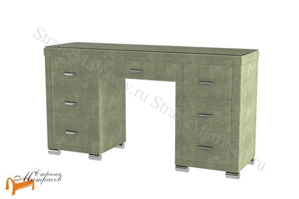 Орматек  Туалетный стол Orma Soft 2 (7 ящиков) со стеклом , экокожа, семь ящиков, ткань, рогожка, велюр,  зеленый, олива,