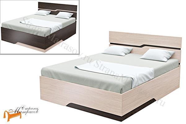 Орматек Кровать Wave line , кровать орматек, ЛДСП , ясень шимо, экокожа беллая, венге, кровать без основания