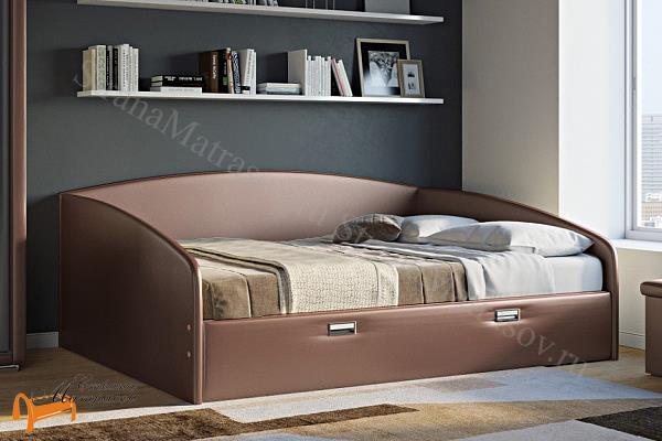 Орматек Кровать Bono с основанием и ящиком (Софа) , экокожа, ткань, рогожка, велюр, золото, олива, белый, чёрный, кремовый, бежевый, коричневый, зеленый, красный, ящик, кровать софа