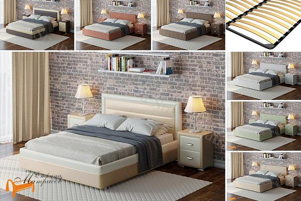 Райтон Кровать Life 2 с основанием , черно - белый, бежево - коричневый, экокожа, люкс