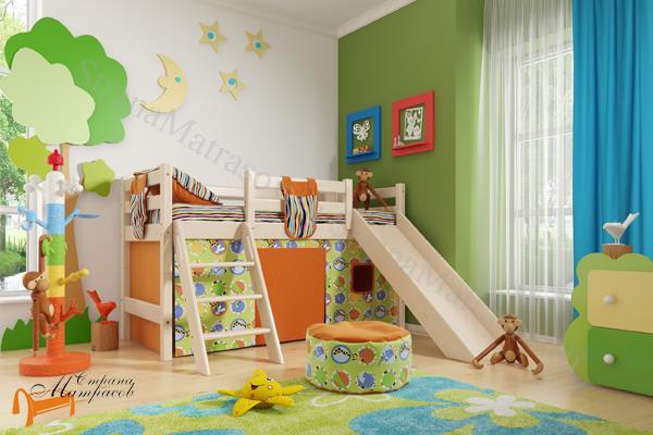 Райтон - детская кровать Райтон низкая Отто 14 с наклонной лестницей, горкой и основанием