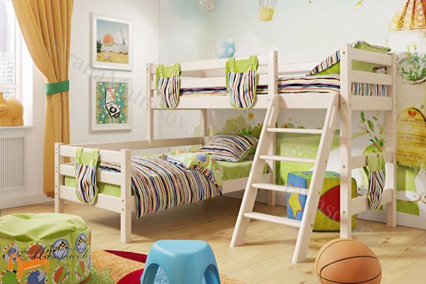 Райтон - детская кровать Райтон угловая полувысокая Отто 8 с наклонной лестницей и основанием