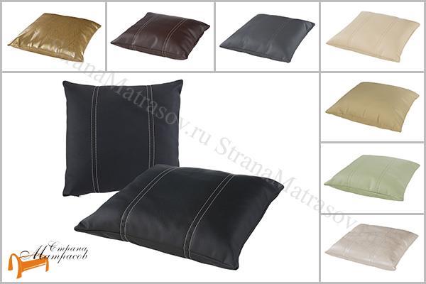 Райтон Подушка декоративная из экокожи 43 х 43см , белая, черная, коричневая, красная, зеленая, кремовая, бежевая, медная, бронзовая