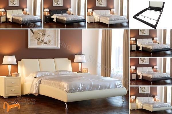 Райтон Кровать Nuvola 2 , экокожа, белая, чёрная, кремовая, бежевая, коричневая, черно - белая, кремово - коричневая,