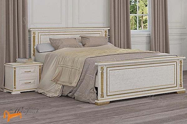 Райтон Кровать Берта с основанием , натуральное дерево, классика, дуб, белая, эмаль, венги, золото