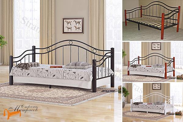 Райтон Кровать Garda 8R - софа с основанием , металл, гарда, дерево гевеи, орех, красный, белый, венги, коричневый
